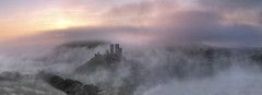 Castle in the clouds (antonyspencer) Tags: uk mist castle fog landscape ruin dorset corfe swanage purbeck
