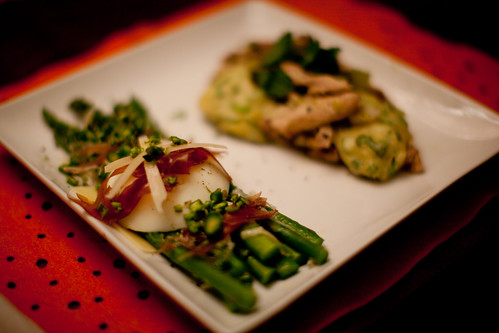 Poached and Raw Asparagus with Poached Egg, Prosciutto and Parmesan; Chicken and Green Onion Dumplings