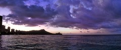 Waikiki sunrise panorama (billsoPHOTO) Tags: ocean morning panorama usa beach clouds sunrise hawaii purple pacific waikiki oahu pano honolulu hdr iphone iphone4 truehdr iphoneography geotaggedhawaii