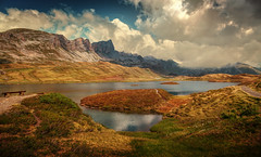 Tannensee (Chrisnaton) Tags: switzerland tannensee obwalden mountainlake mountains clouds lake nature outdoor landscape panorama bench path