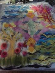 Felted Layout (Explored) (Pink Knitter) Tags: wetfelt wool roving locks flowers tree fireworks ocean sky angels