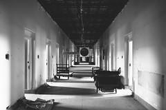 passage. (jonathancastellino) Tags: architecture abandoned derelict decay ruin ruins leica q psych hospital psychiatric insane asylum hall door gurney distance light cast wing ward ngc