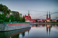 Wroclaw, Poland (Ivona & Eli) Tags: wroclaw old town wrocław breslau poland silesia tower cathedral river island bank church ancient trees water reflection buildings cityscape sky