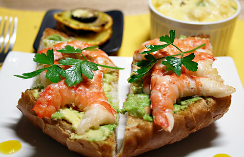 Prawns & Avocado on Toasted Baguette