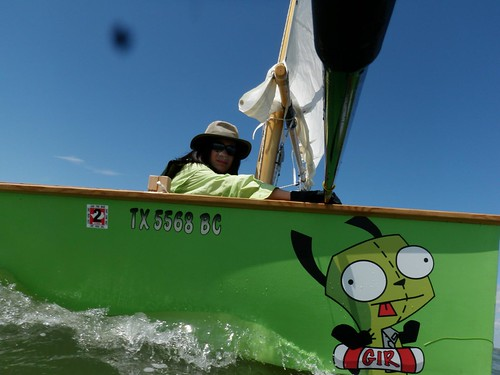 John's son in their Goat Island Skiff competing in the Texas200