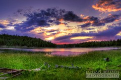 Scholz Lake Sunset, Flagstaff, Arizona (HDR) (Logan Brumm Photography and Design) Tags: pink sunset red arizona sky lake tree green water grass yellow clouds digital canon shower fire rebel pond haze purple williams wildlife smoke logs schultz photograph flagstaff northern hdr scholz nau meteorshower meteror aot2010contest photocontesttnc10