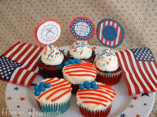 Flag Cupcakes for the Fourth