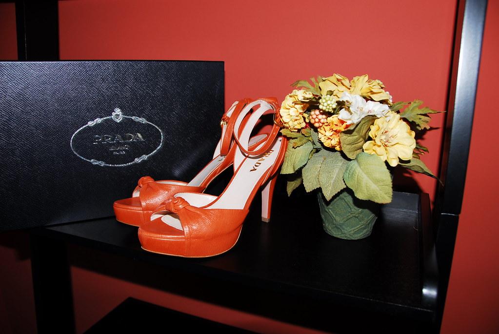 Prada rust platform sandals