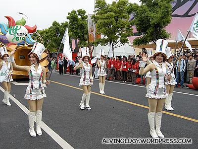 Cheery ladies leading the parade