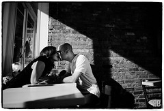 Private Dining (Ryan Brenizer) Tags: newyorkcity blackandwhite woman man love engagement nikon kiss soho noflash d3s 24mmf14g