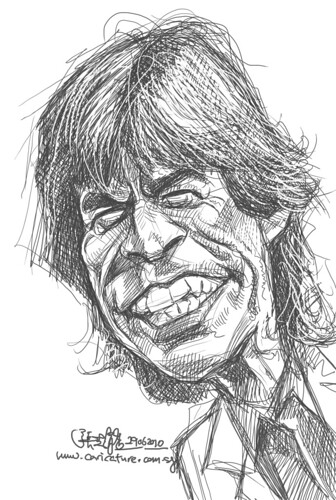 digital sketch study of Mick Jagger - 3