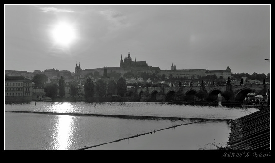 Charles Bridge at Sunset (B&W)