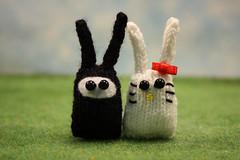Ninja & Hello Bunny (Squirrel Junkie) Tags: bunny bunnies handmade knit buns blythe knitted squirreljunkie bunnynugget