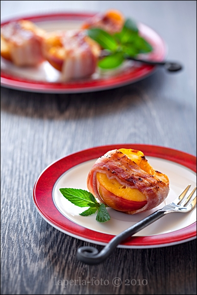 Peaches wrapped in bacon