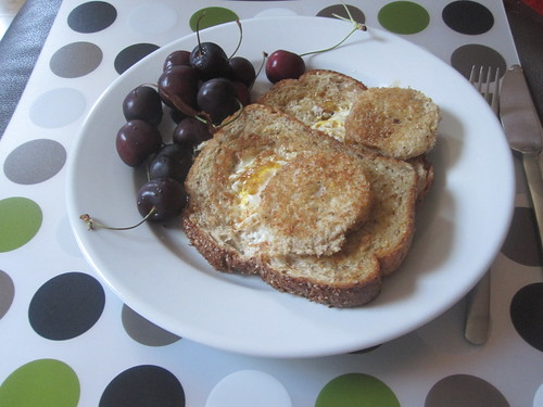 cherries, eggs-in-the-hole