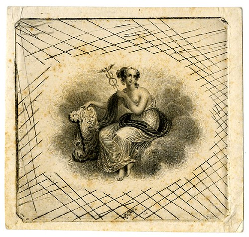 Female figure holding winged staff with snakes. Design printed in black. (19th c) banknote illustration