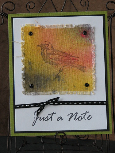 Ink Stained Roni Stamps - Just a Note Bird 001