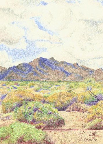 McDowell Mountain Regional Park, colored pencil