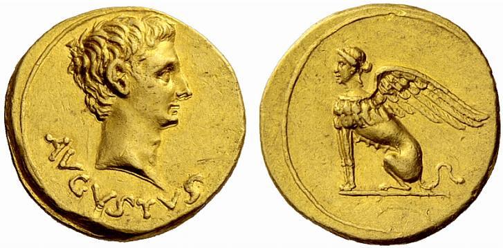 A Rare Roman Gold Aureus of Augustus (27 B.C.E. - 14 C.E.), a Wonderful Anepigraphic Reverse Featuring a Sphinx