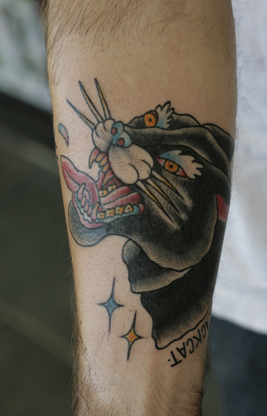 My buddy Nash came down from Athens and asked for a black cat tattoo.