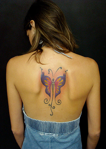 Blue Butterfly Tattoos Design on Back Woman