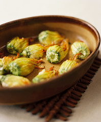 Stuffed Zucchini Blossoms (KarenWise) Tags: film zucchiniblossoms