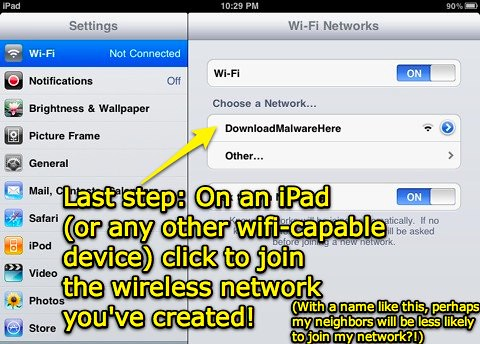 Join your new network from your iPad