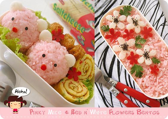 Pinky Mice & Red n White Flowers Bentos