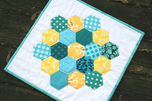 aqua & yellow mini quilt