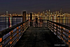 View from the Dock (Andrew E. Larsen) Tags: seattle reflection water lines night lights pier dock alki westseattle spaceneedle posts theneedle papalars andrewelarsen