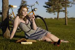 Carolyn. (carnefox) Tags: red orange sexy beautiful bike vintage pretty curvy pale redhead freckles schwinn redhair pinup busty houndstooth chesty vintagebike buxom