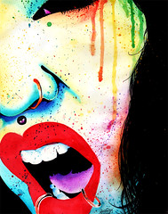 Rebel Yell (Caressa_sparkle) Tags: woman art girl rock watercolor painting nose rainbow colorful punk teeth makeup piercing ring scream lip lipstick medusa yell splatter