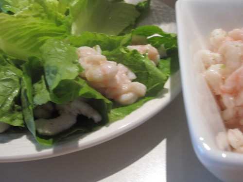 Shrimp with lime in lettuce cups at Gabrielle's