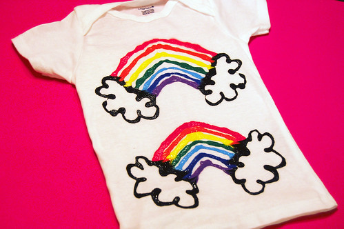 finished double rainbow shirt