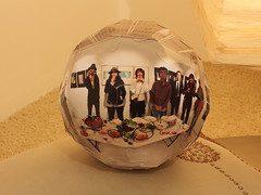 """With you"" panoball (Bogdan L) Tags: panorama japan ball origami panoramic exhibition puzzle modular kirigami papercraft truncatedicosahedron craftrobo oschene mathmap heiwa4126 noglue curvedfolding bogdanl panoball"