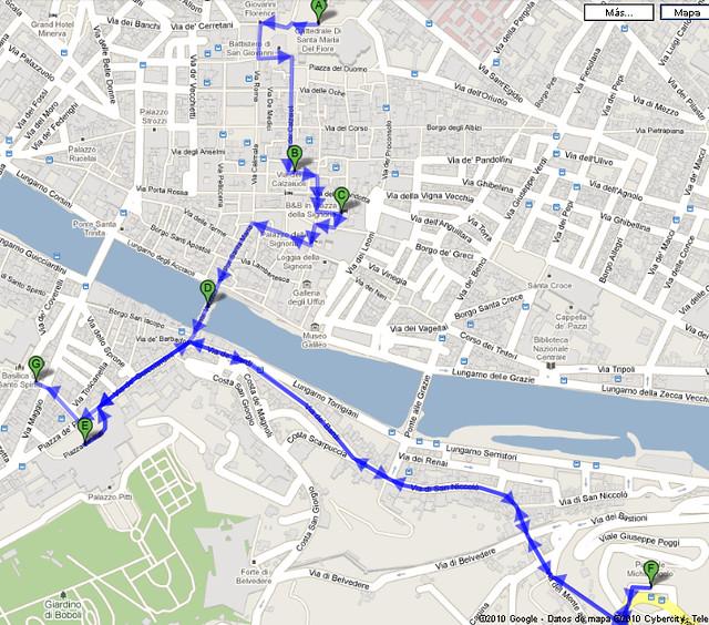 Mapa Roteiro a Pé Florencia
