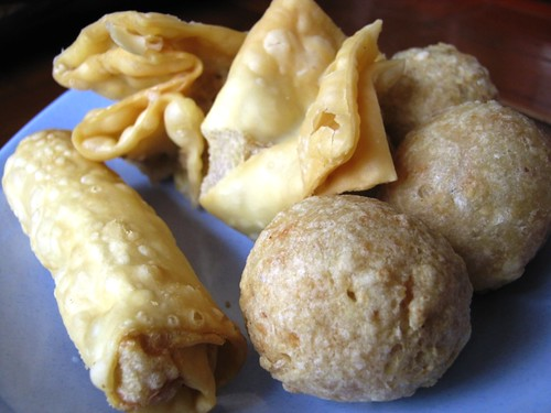 "many kind of fried stuff in ""Bakso Malang"""