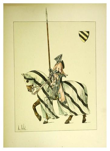 008-Gendarme del siglo XIV con armadura de guerra-Le chic à cheval histoire pittoresque de l'équitation 1891- Louis Vallet
