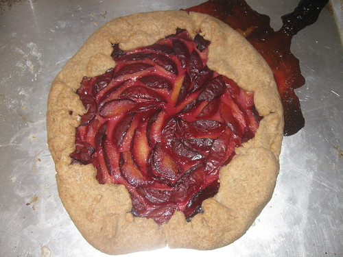 Rustic plum tart with half-whole-wheat crust