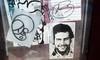 Faces (Reid Harris Cooper) Tags: cameraphone newyorkcity streetart face graffiti sticker stickerart stickers queens clue pabloescobar postallabel skine