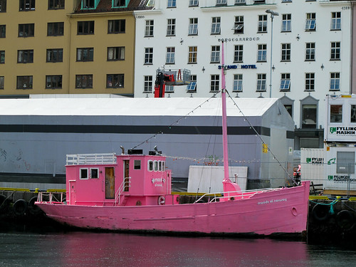 Pink Boat in the Old Harbor - Bergen, Norway
