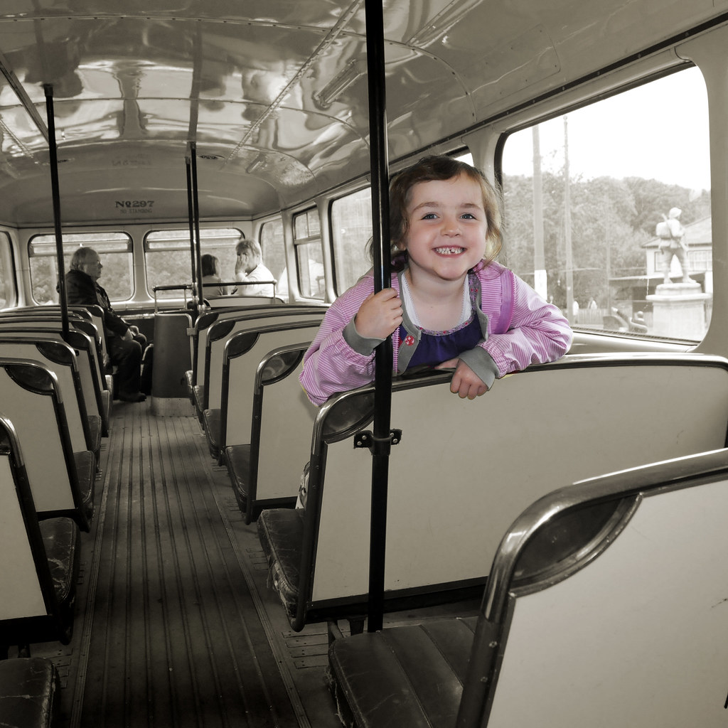 UK - The Midlands - Black Country Museum - Lauren on the old bus sq