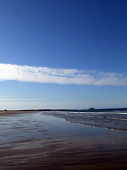 Sands at East Lothian with Bass Rock in the background (morriganthecelt) Tags: blue sea sky beach water rock sand bass east lothian scotlandinthesun scotlandslandscapes