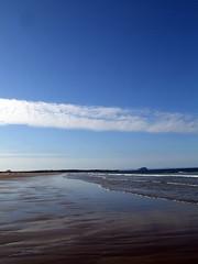 Sands at East Lothian with Bass Rock in the background (morriganthecelt) Tags: blue sea sky beach water rock sand bass east lothian scotlandinthesun scotlandslandscapes