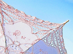 Pink Parasol (Monique Barber) Tags: pink blue sky umbrella soft pretty lace girly pastel spoke fabric cotton parasol dreamy catchycolorsblue catchycolorspink