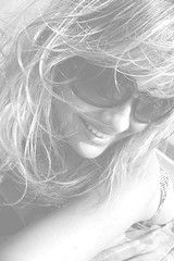 Summer Smiles. (juliejigsaw) Tags: summer blackandwhite selfportrait beach smile sunglasses hair nose teeth bikini