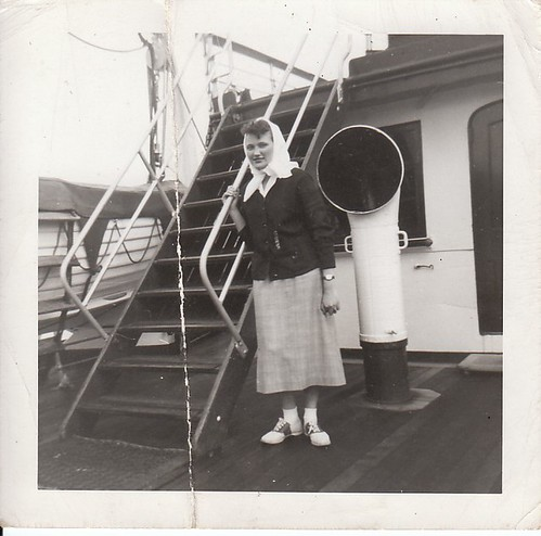Friendly with the passengers aboard the SS Princess Norah in the Canadian Merchant Marine circa 1948.