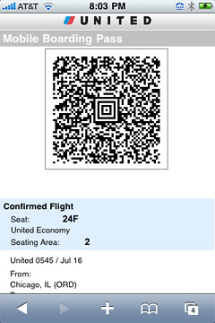 Mobile Boarding Pass Screen Capture