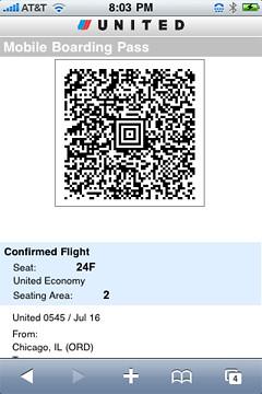 Mobile Boarding Pass Screen Capture Zdnet
