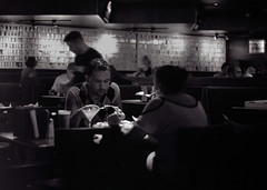 Thinks and Drinks at Chickie's and Pete's (costigaj) Tags: newjersey trix diafine om zuiko om4 chickiesandpetes olympusom4